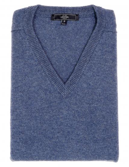 Jersey lana pico Azul medio