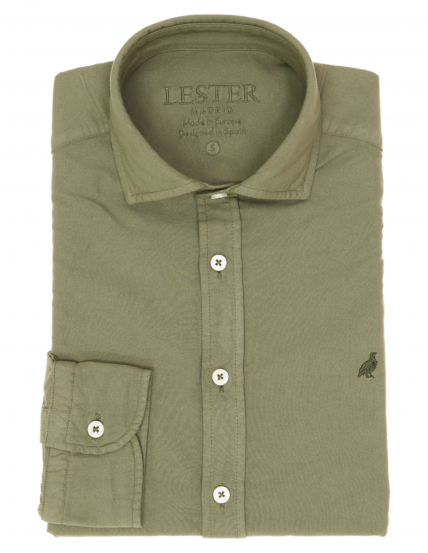 Camisa oxford tintada Verde