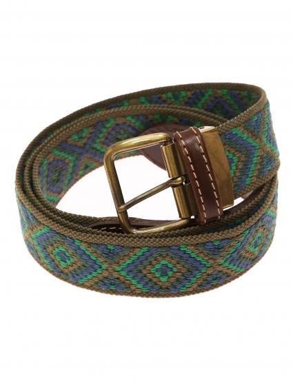 Cinturón lona etnico Verde/azul