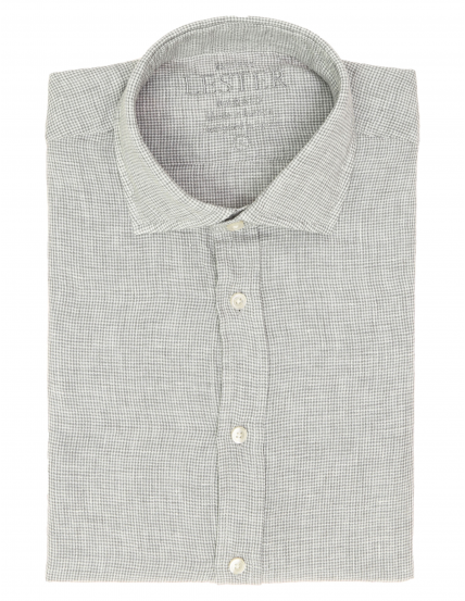 Camisa sport lino vichy Gris