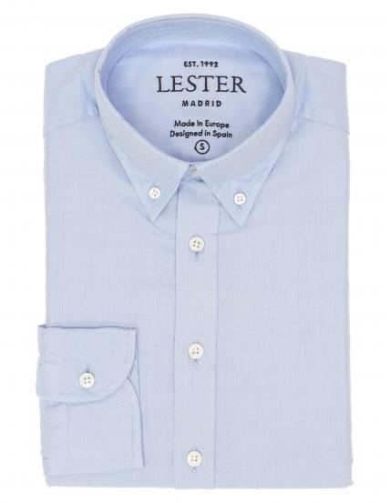 Camisa oxford lisa lavada Azul medio