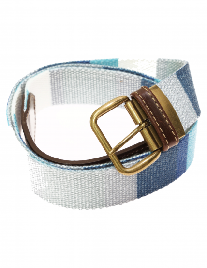 Cinturón lona raya ancha Azul