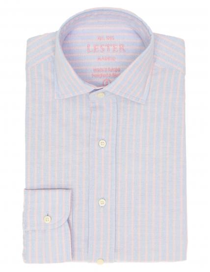 Camisa sport oxford raya Azul/rosa