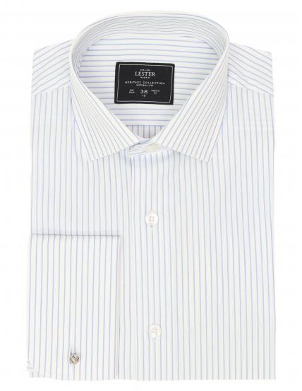 Camisa vestir raya blanca Azul
