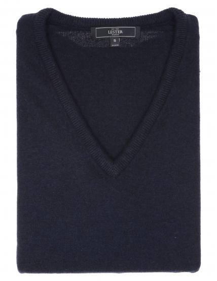Jersey cashmere pico Azul marino