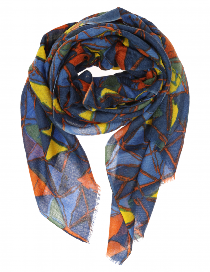 Chal lana seda multicolor Azul