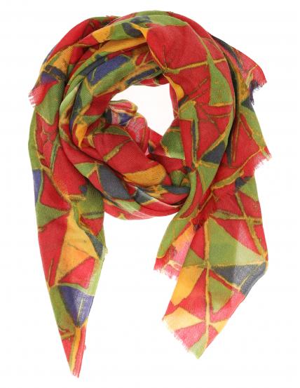 Chal lana seda multicolor Rojo